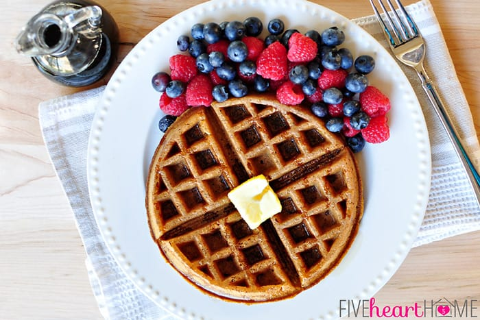 Whole Wheat Pumpkin Spice Waffles (Dairy-Free) | {Five Heart Home}