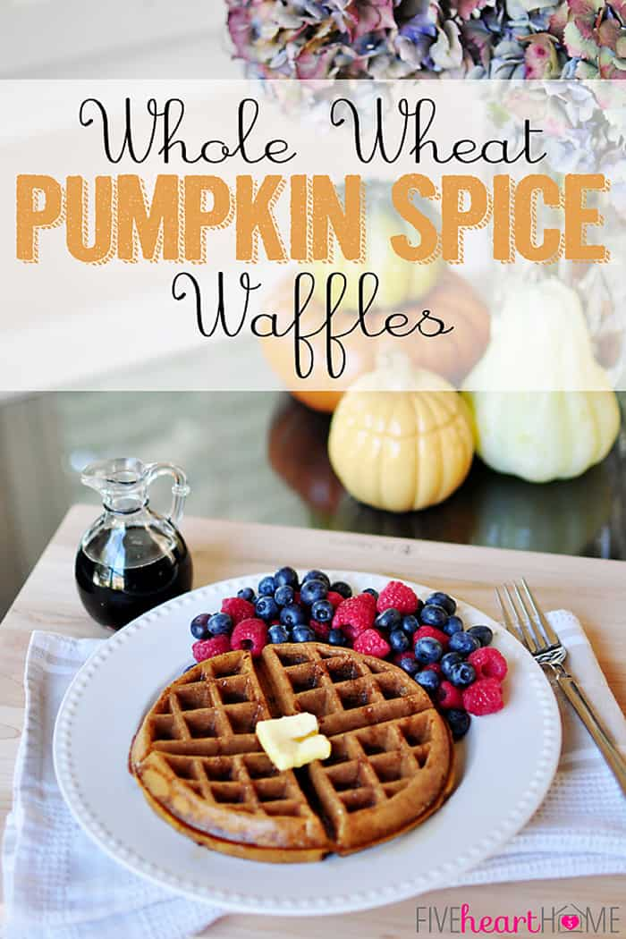 These Whole Wheat Pumpkin Spice Waffles are loaded with cinnamon, ginger, and nutmeg, boasting crispy exteriors with light and airy interiors. You would never guess that they're 100% whole wheat, and as an added bonus, they can easily be made dairy-free. | fivehearthome.com