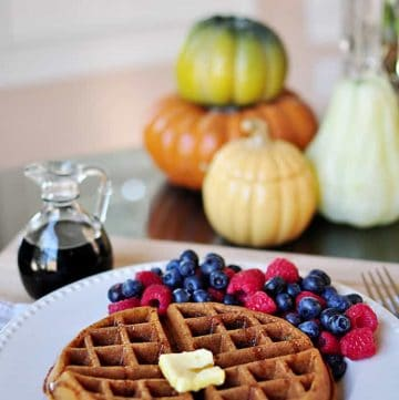 Whole Wheat Pumpkin Spice Waffles (Dairy-Free)