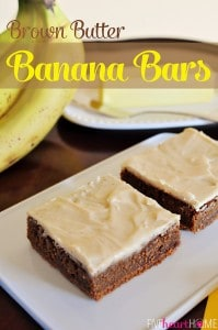 Brown Butter Banana Bars ~ with a brown butter frosting and brown butter graham cracker crust | {Five Heart Home}