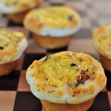 Cheesy Biscuit Cups ~ a quick and easy meal that uses up leftover taco filling, spaghetti sauce, sloppy joe meat, chili, pulled pork, chopped brisket, etc. | {Five Heart Home}