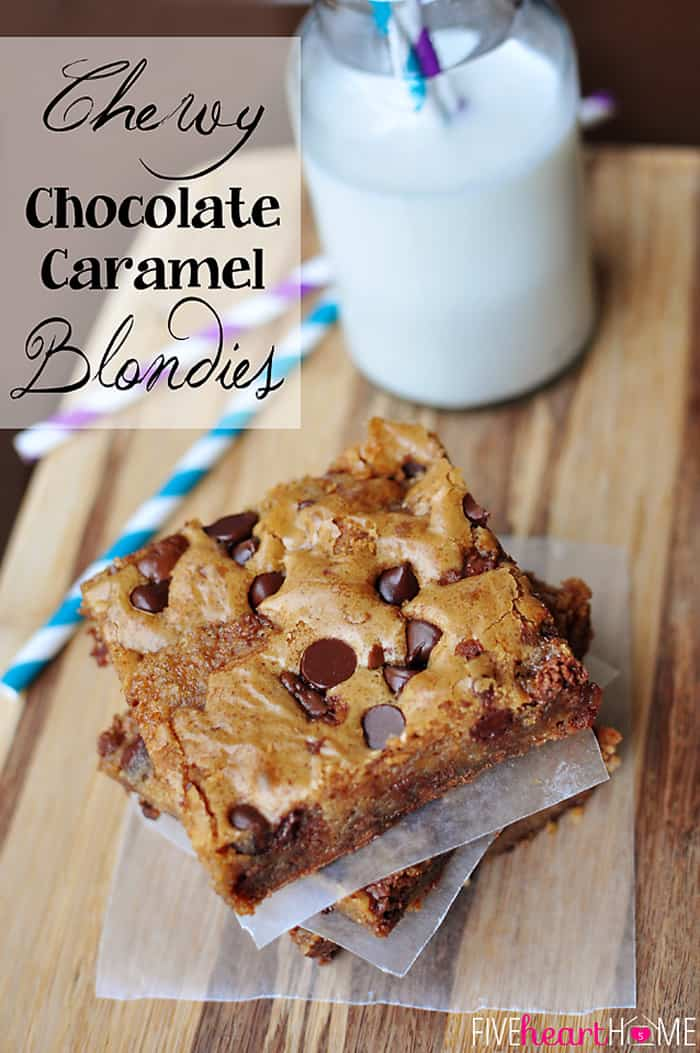 Caramel Blondies ~ anything but basic, these dense and chewy blondies can be customized to your liking! This version is studded with gooey, chocolatey caramel. | FiveHeartHome.com via @fivehearthome