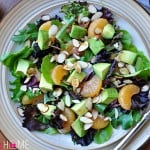 Mixed Greens Salad with Mandarins, Toasted Almonds, Avocado, and Sesame Ginger Vinaigrette | {Five Heart Home}