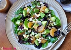 Mixed Greens Salad with Mandarins, Toasted Almonds, & Sesame Ginger Vinaigrette