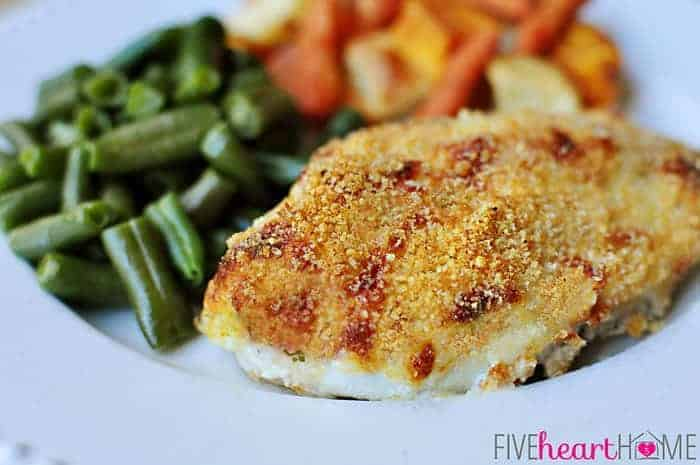 Panko Chicken on a plate with green beans, carrots, and potatoes