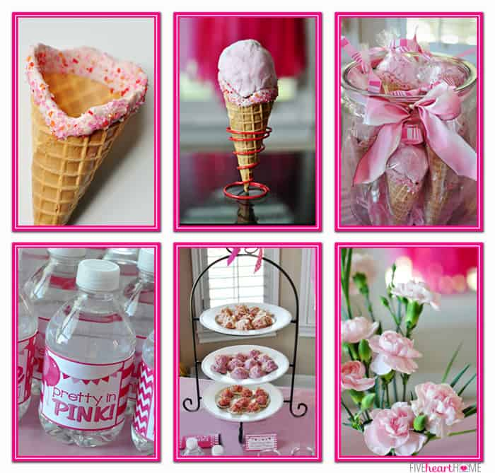 """Pink First Birthday Party ~ Pink Cotton Candy """"Ice Cream"""" Cones and Pink White Chocolate-Dipped Coconut Macaroons 