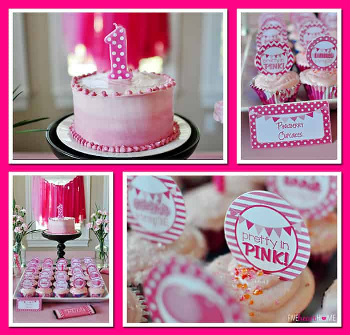 Pink First Birthday Party ~ First Birthday Applesauce Cake and Fresh Strawberry Cupcakes | {Five Heart Home}