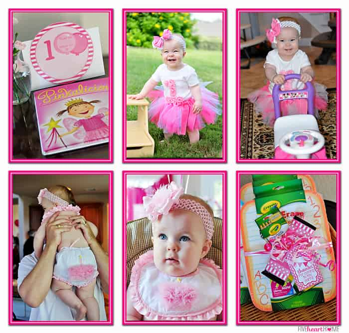 Pink First Birthday Party ~ Children's Book as Guest Book, Party Favors, and Outfits for the 1-Year-Old | {Five Heart Home}