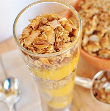 Pumpkin Vanilla Parfaits with Maple Cinnamon Pecan Granola   {Five Heart Home}