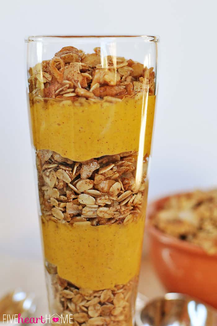 Pumpkin Vanilla Parfaits with Maple Cinnamon Pecan Granola | {Five ...