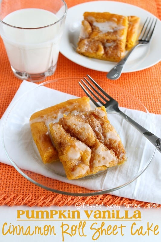 Pumpkin Vanilla Cinnamon Roll Sheet Cake by Dessert Now, Dinner Later