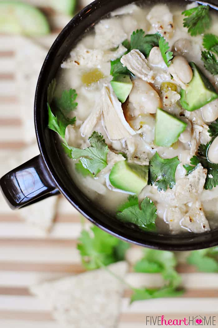 Slow Cooker / Crock Pot Chicken and White Bean Chili ~ garnish with ...