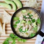 Slow Cooker / Crock Pot Chicken and White Bean Chili ~ garnish with cilantro, tortilla chips, cheese, avocado chunks, salsa, etc. | {Five Heart Home}