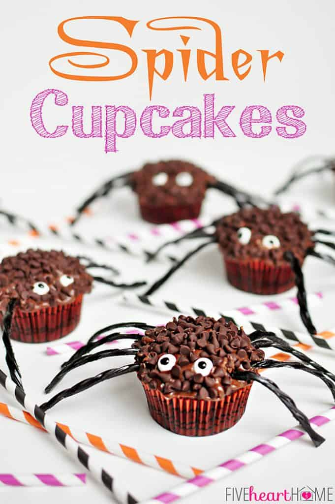 Spider Cupcakes with text overlay