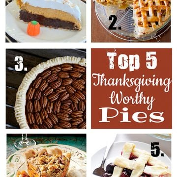 Top 5 Thanksgiving Worthy Pies ~ Pumpkin Cheesecake Brownie Pie, Salted Caramel Apple Pie, Chocolate Pecan Pie, Sliced Sweet Potato Pie, Cherry Pie | {Five Heart Home}