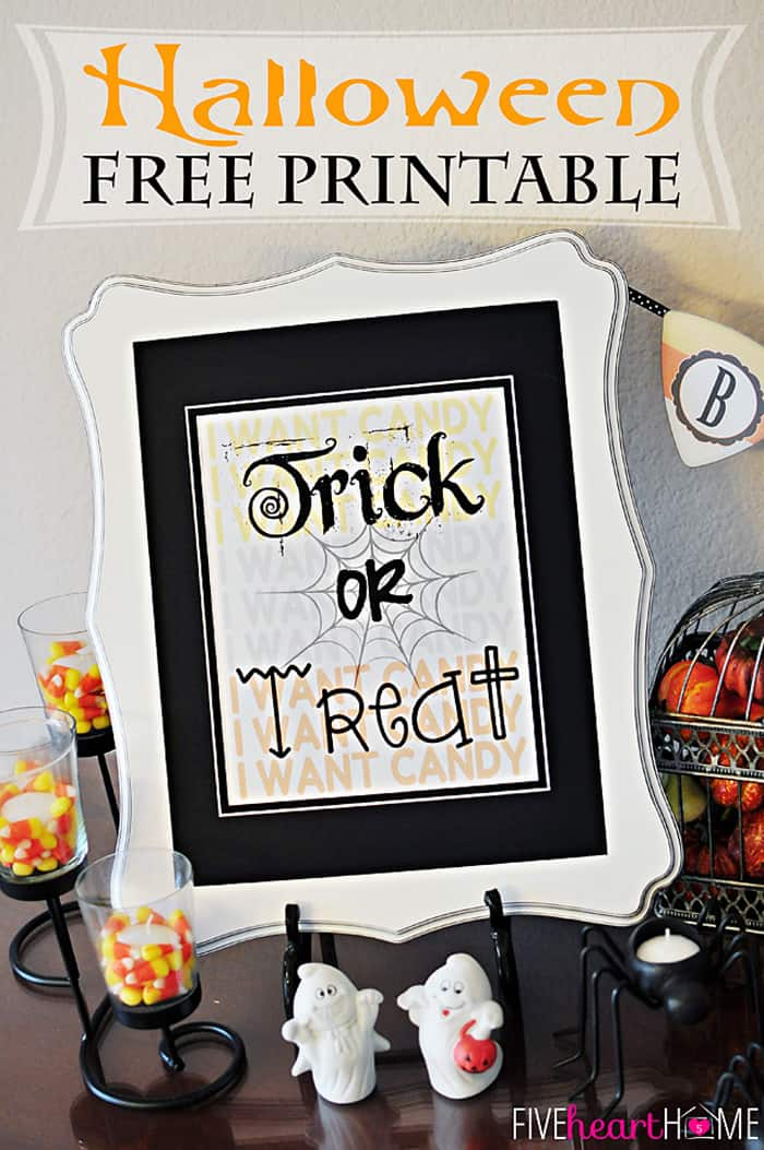 Trick or Treat ~ Free Halloween Printable | {Five Heart Home}