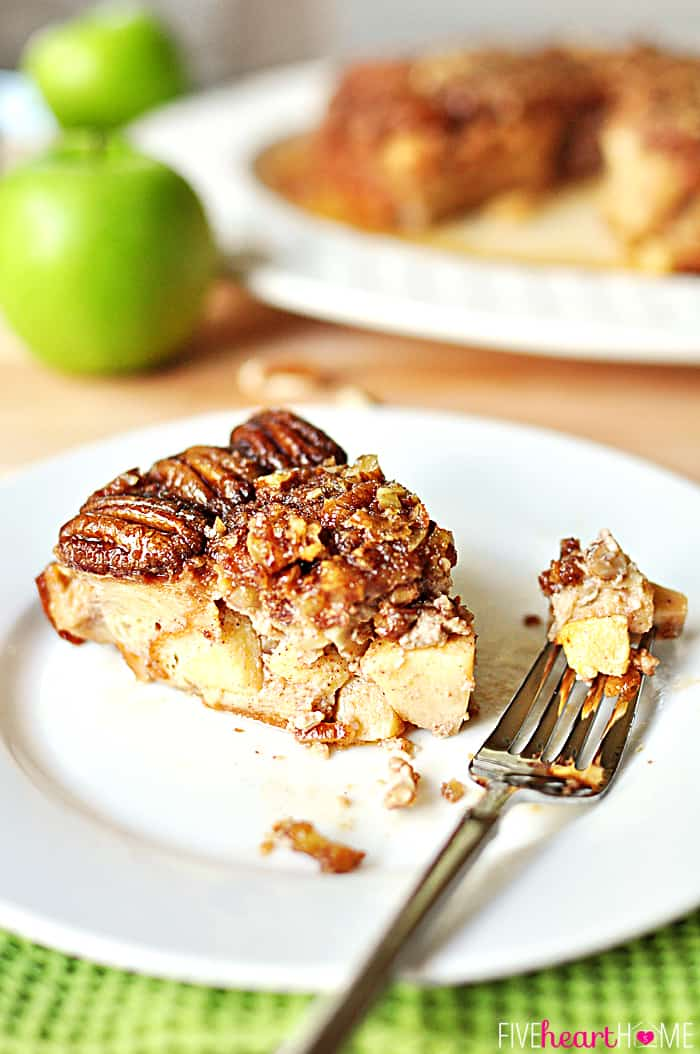 Apple Praline Baked French Toast ~ moist and apple-studded, this French toast casserole is overturned to reveal a veneer of pecans; can also be a make-ahead overnight recipe! | FiveHeartHome.com