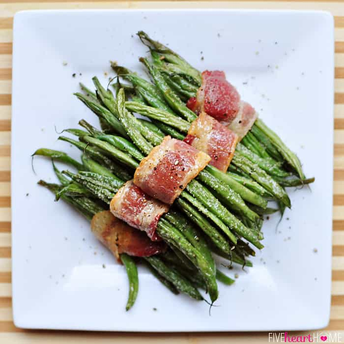 Aerial View of Bacon Green Bean Bundles on Square Plate