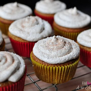 Brown Butter Pumpkin Cupcakes with Cinnamon Buttercream Frosting   {Five Heart Home}