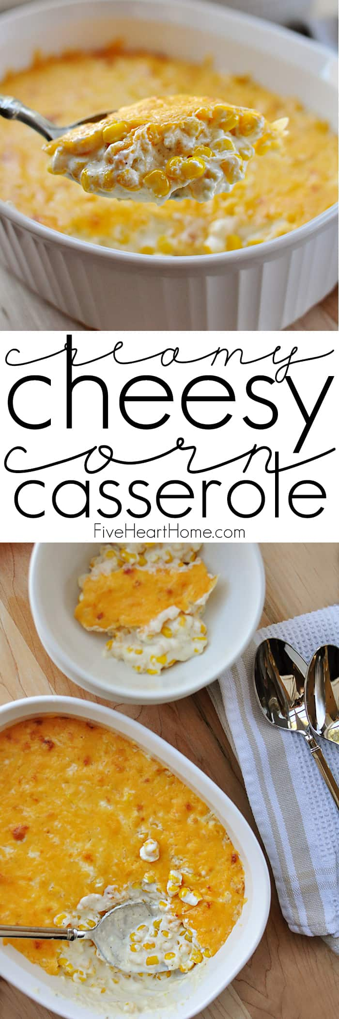 Creamy Cheesy Corn Casserole ~ decadent with cream cheese and cheddar, this corn is perfect as a holiday side dish and can even be made in the crock pot! | FiveHeartHome.com