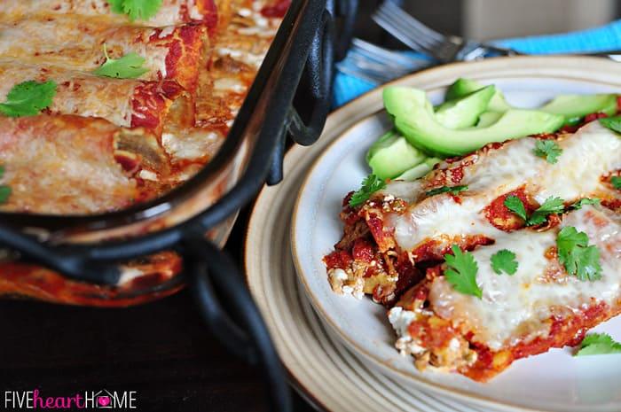 Creamy Dreamy Chicken Enchiladas on Plate with Sliced Avocado