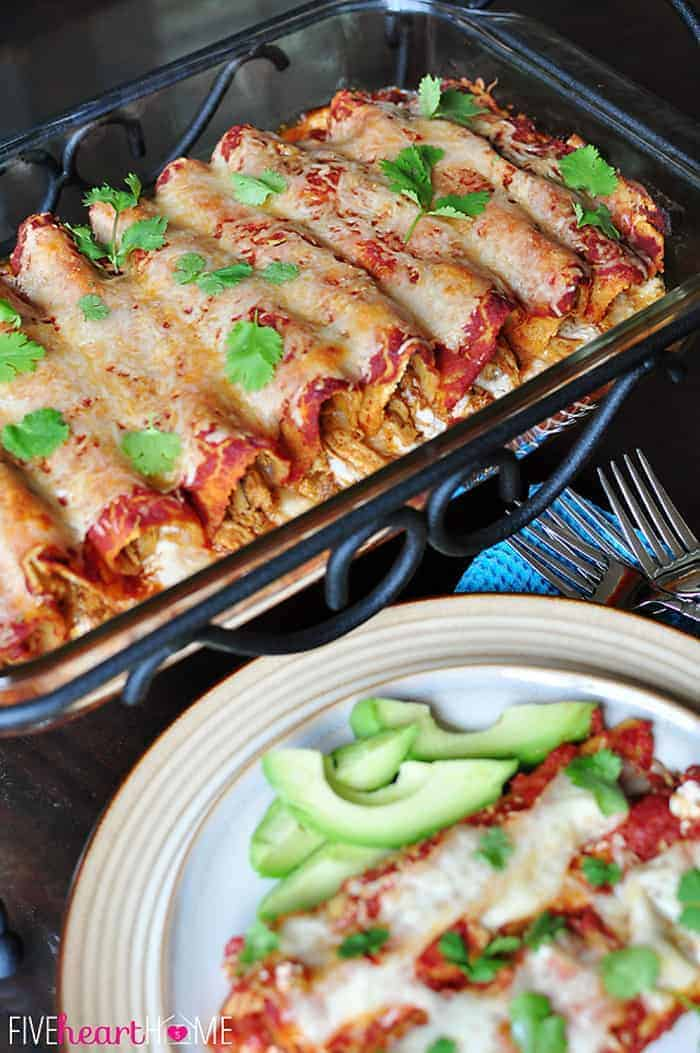 Creamy Dreamy Chicken Enchiladas ~ you'll never guess the secret ingredient! | {Five Heart Home}