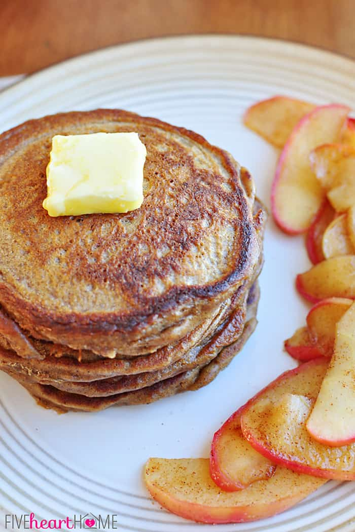 Gingerbread Pancakes with a Pat of Butter Served with Cinnamon Apples