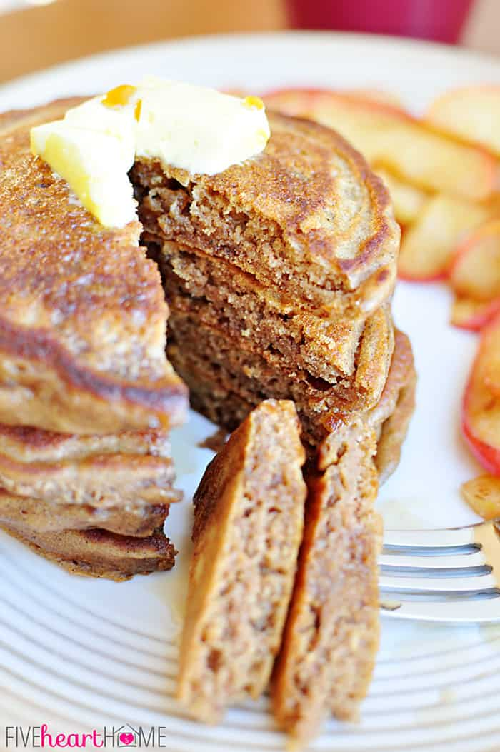 Close-Up of Gingerbread Pancakes Piled on a White Platter