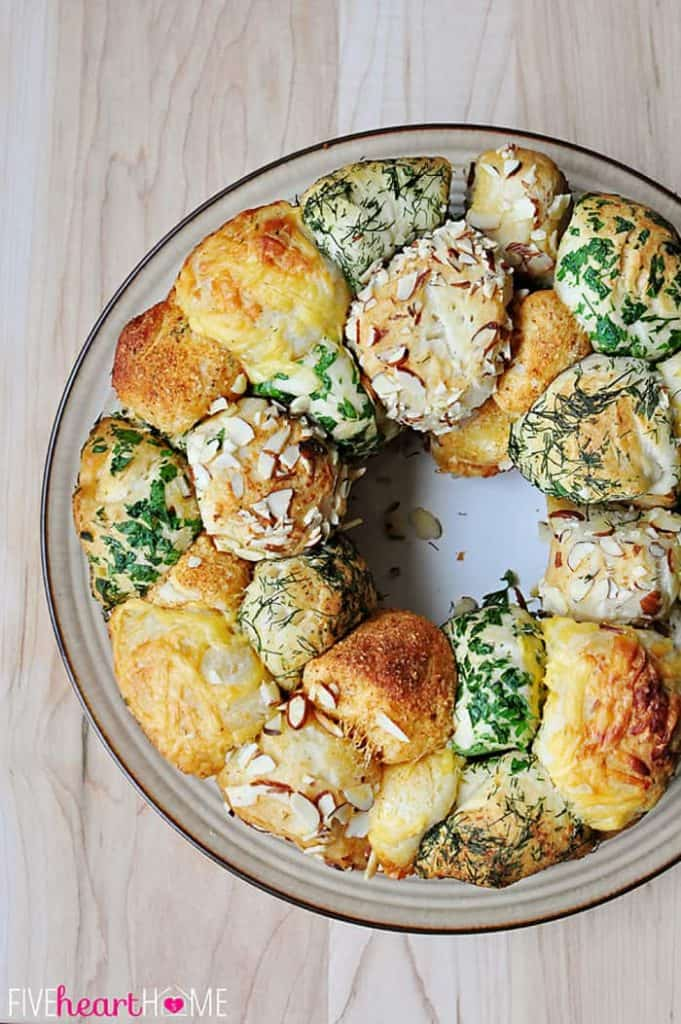 Aerial view of Savory Herb and Cheese Monkey Bread on a platter