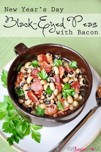 Black-Eyed Peas with Bacon ~ eat on New Year's Day for a lucky and prosperous year! | {Five Heart Home}