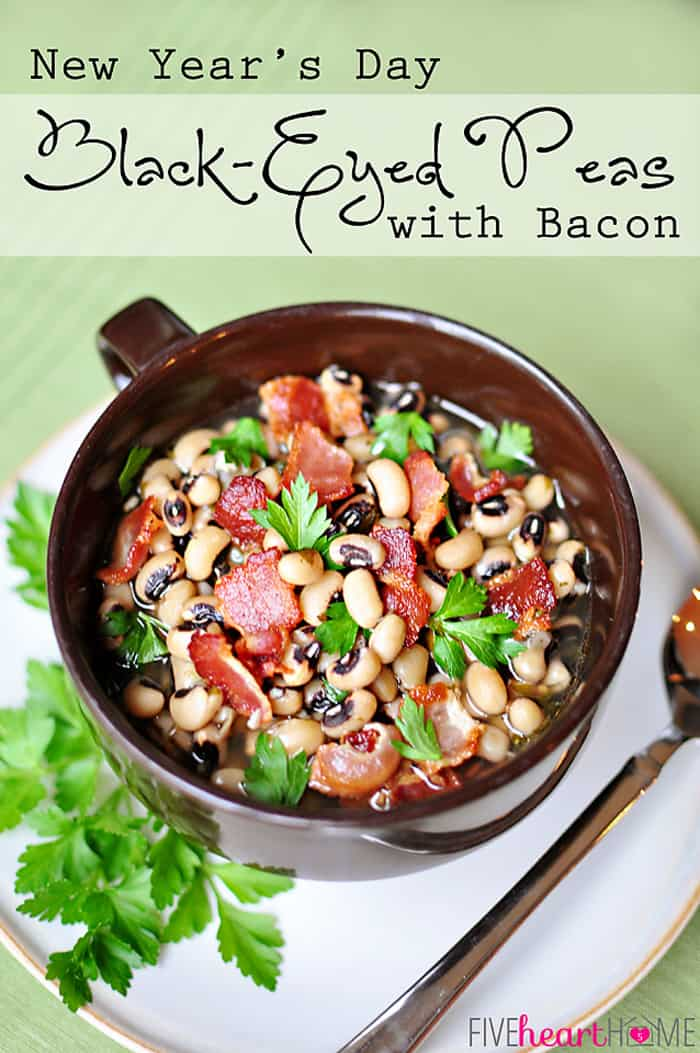 Black-Eyed Peas with Bacon ~ flavored with garlic, bacon, and thyme, this savory soup is said to bring luck and prosperity when eaten on New Year's Day! | FiveHeartHome.com