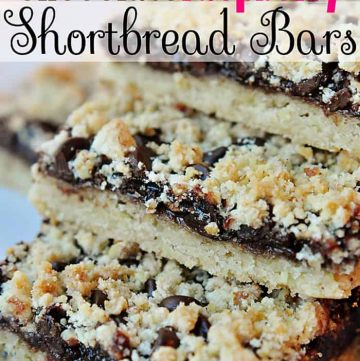 Chocolate Raspberry Shortbread Bars ~ this cookie is sure to become a favorite between its buttery shortbread, raspberry jam, and semisweet chocolate chips | {Five Heart Home}