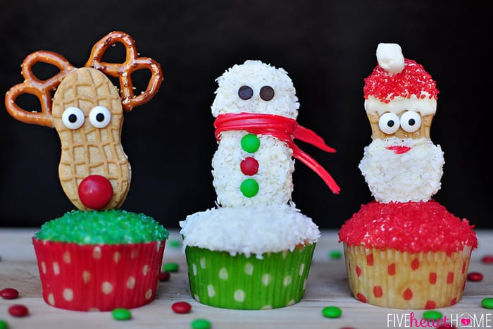 Christmas Cupcake Toppers Using Nutter Butters (Snowman, Reindeer, and Santa)