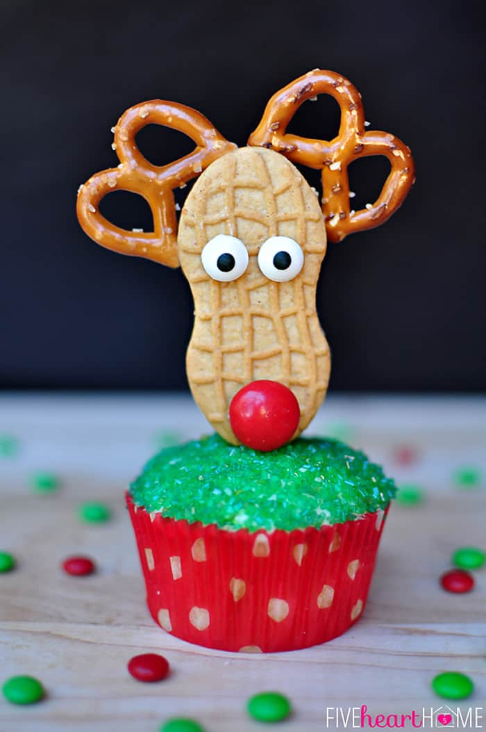 Close-Up of the Reindeer Cupcake Topper