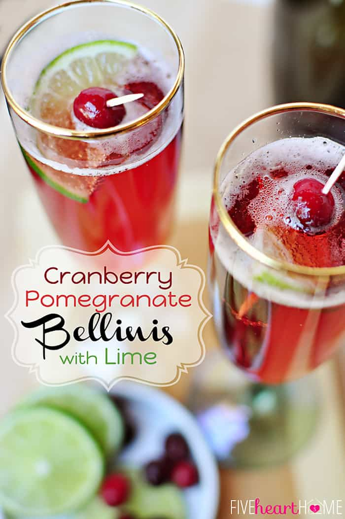 Cranberry Pomegranate Bellinis with Lime ~ can be made with champagne or seltzer, perfect during the holidays or for New Year's | {Five Heart Home}