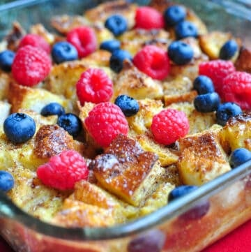 Overnight Eggnog French Toast Bake, a Christmas breakfast idea.