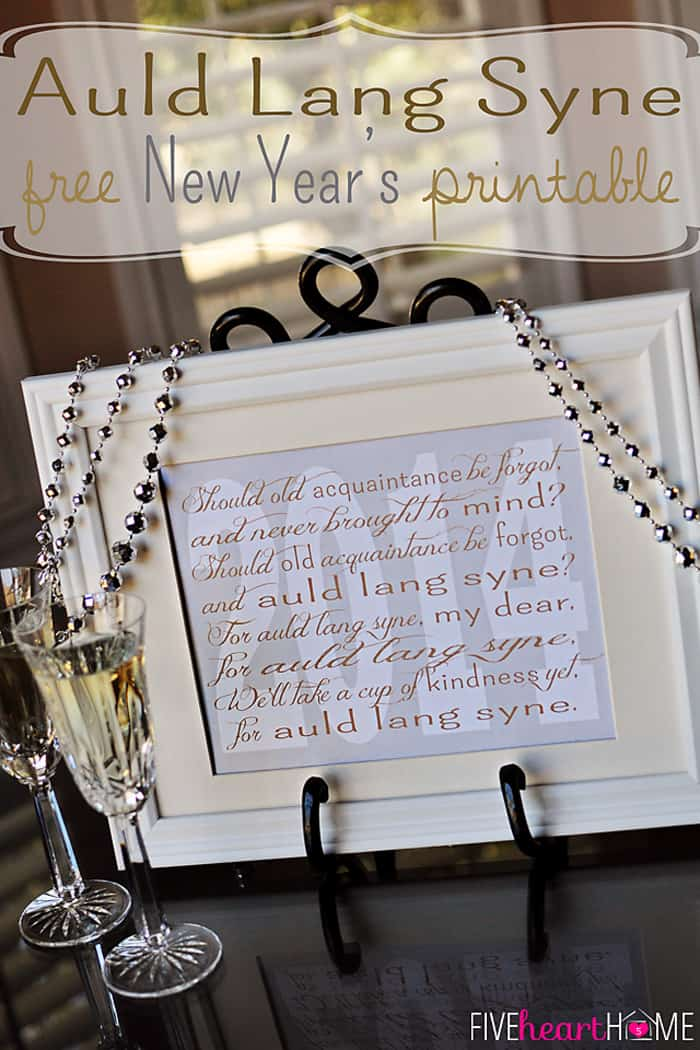 photograph relating to Auld Lang Syne Lyrics Printable known as Fresh Decades Cost-free Printable ~ Auld Lang Syne FIVEheartHOME