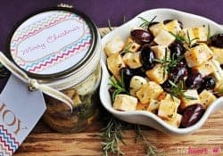 Marinated Cheese and Olives ~ a quick party appetizer or easy food gift in a jar | {Five Heart Home}