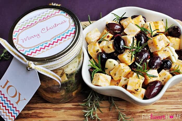 Marinated Cheese & Olives in a jar and a bowl.