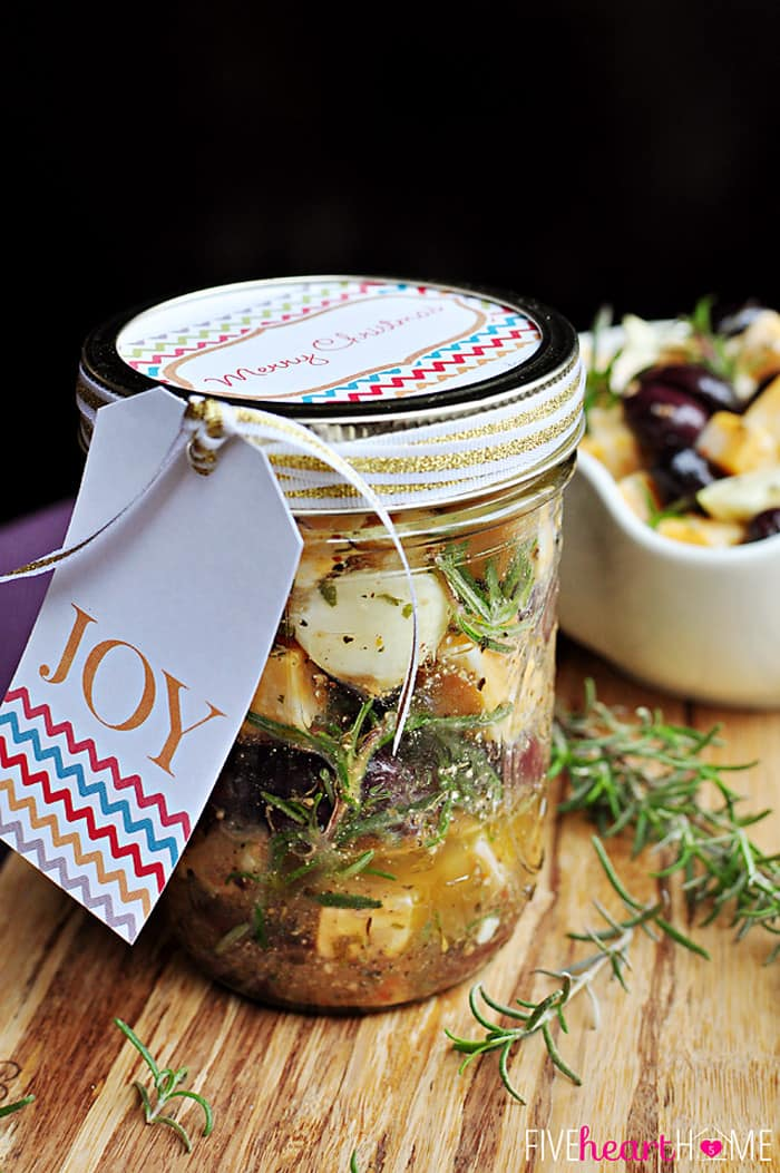 Marinated Cheese and Olives In a Jar Ready to Gift