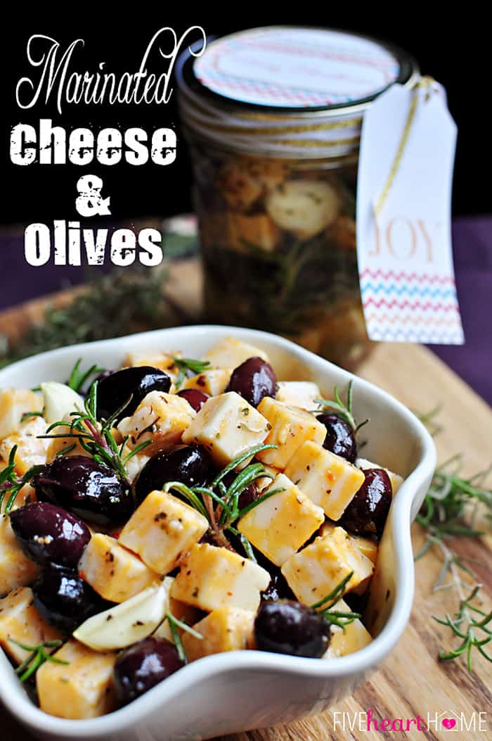 Marinated Cheese and Olives ~ a quick party appetizer or easy food gift in a jar | FiveHeartHome.com