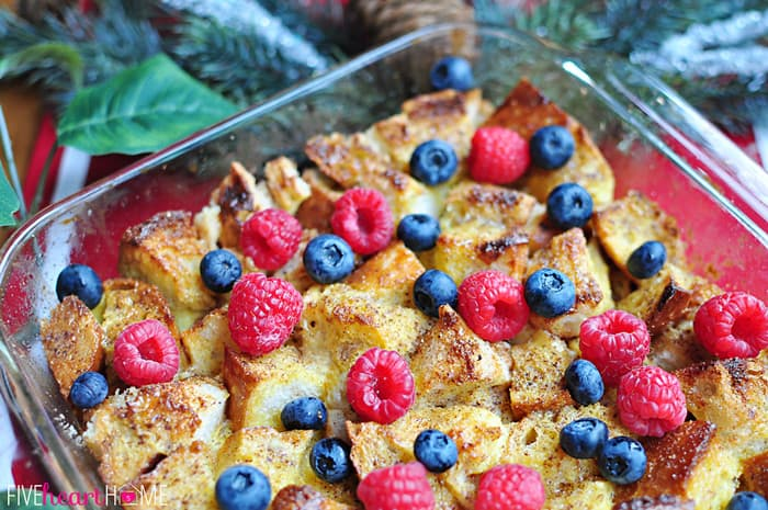 Overnight Eggnog French Toast Casserole in Square Glass Serving Dish