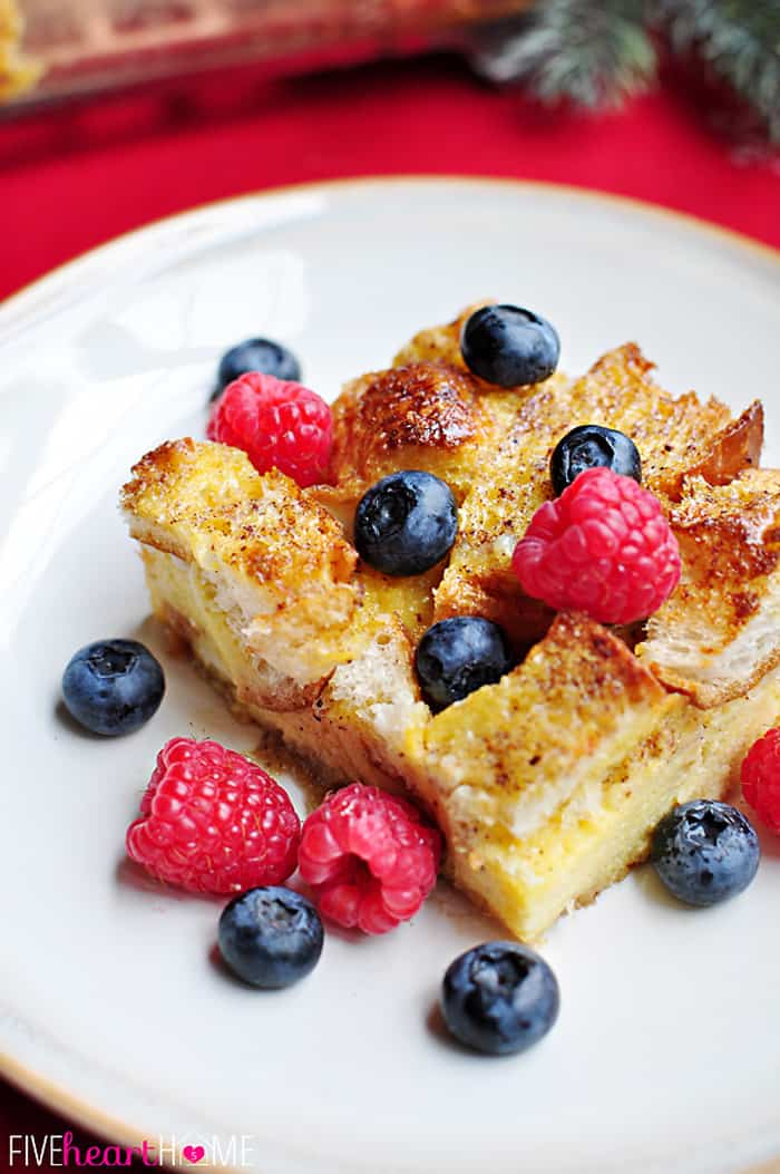 Overnight Eggnog French Toast Casserole with Fresh Berries