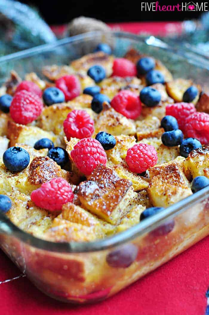 Close-Up of Overnight Eggnog French Toast Casserole with Fresh Garnish of Blueberries and Raspberries