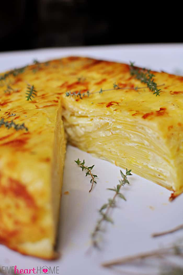 Scalloped Potato Flan with Gruyère and Garlic ~ served overturned and sliced for an elegant presentation | {Five Heart Home}