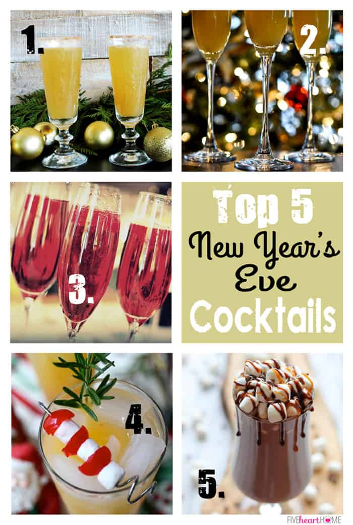 Top 5 New Year's Eve Cocktails ~ Pear and Sparkling Cider Cocktail, Creamsicle Mimosas, Raspberry Champagne Cocktail, Ambrosia Cocktail, Kahlua Hot Chocolate | {Five Heart Home}