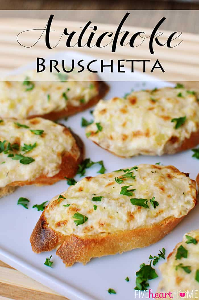 Artichoke Bruschetta {or} Hot Artichoke Dip ~ an easy appetizer or dip, depending on how fancy the occasion is | FiveHeartHome.com