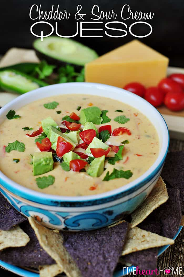 Cheddar and Sour Cream Queso with Text Overlay