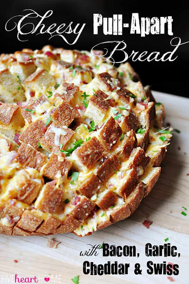 Cheesy Pull-Apart Bread with Bacon, Garlic, Cheddar and Swiss ~ the ...