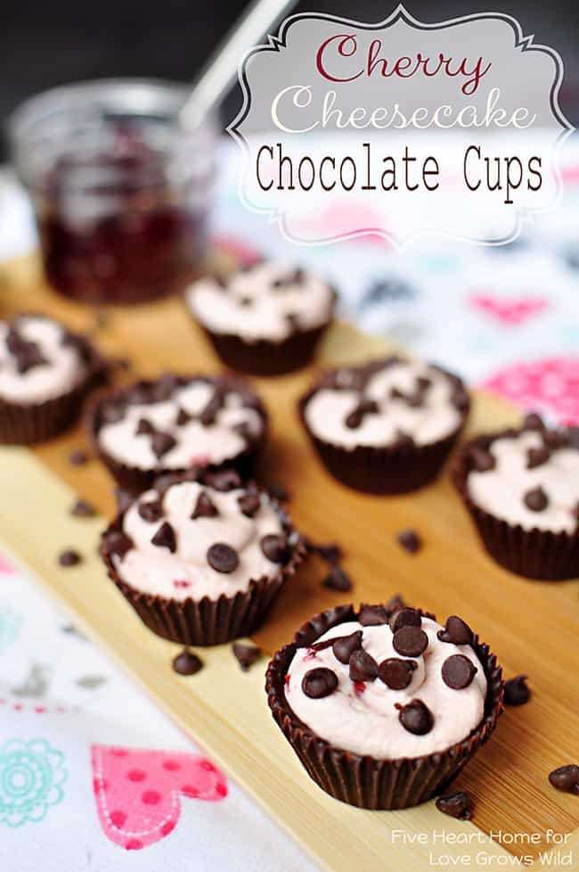 Cherry Cheesecake Chocolate Cups - A light and creamy, cherry-infused, no-bake cheesecake filling is piped into cute, edible chocolate cups for perfect bite-size treats!